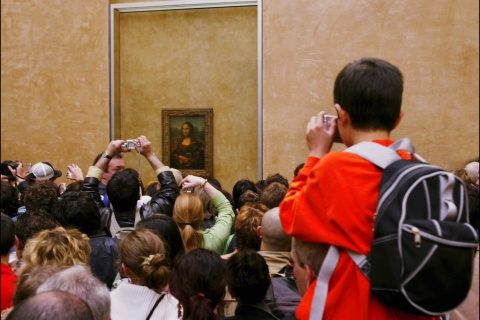 Mona Lisa relocated in the Louvre's Salle des Etats in Paris, France on April 06th, 2005.