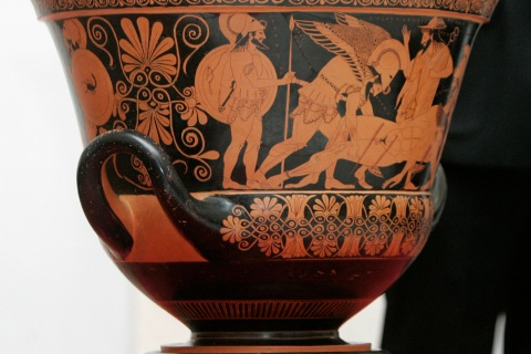 The Euphronios krater vase at a news conference in Rome, on Jan. 18, 2008.