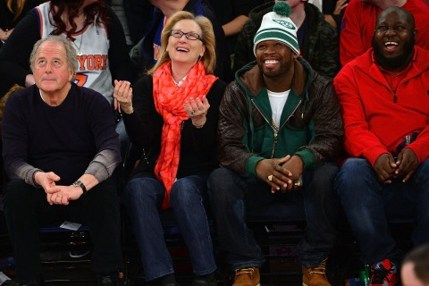 Don Gummer, Meryl Streep, 50 Cent and a guest attend the Los Angeles Lakers vs New York Knicks game at Madison Square Garden on January 26, 2014 in New York City.