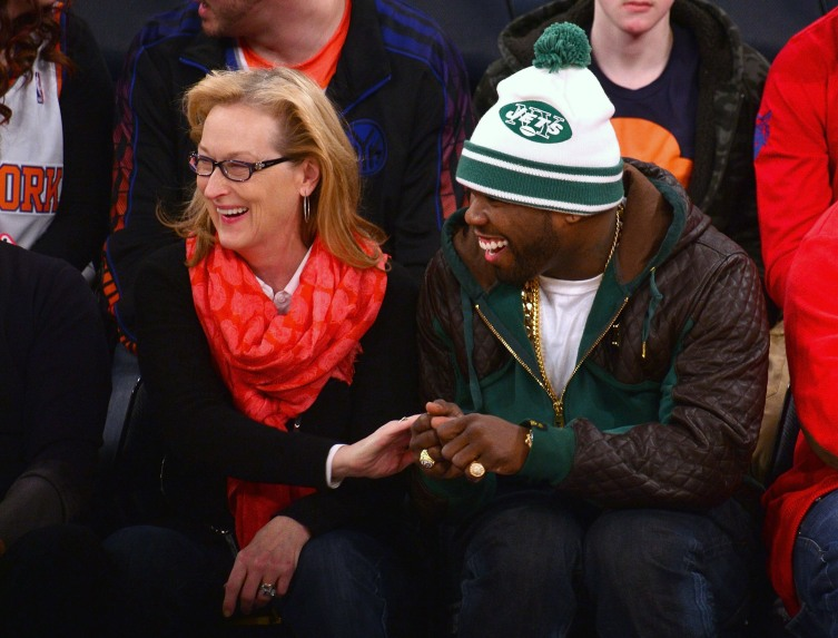 Meryl Streep and 50 Cent attend the Los Angeles Lakers vs New York Knicks game at Madison Square Garden on January 26, 2014 in New York City.