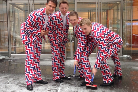 Members of Norway's Men's Olympic Curling Team (from left: Thomas Ulsrud, Torgor Nergard, Christoffer Svae, and Havard Vad Petersson) wear their new Sochi 2014 in New York  Jan. 21, 2014.