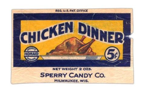 Chicken Dinner Candy Bar Wrapper