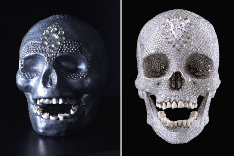 Left: Edible Damien Hirst skull; Right: Original Damien Hirst platinum cast of a human skull.