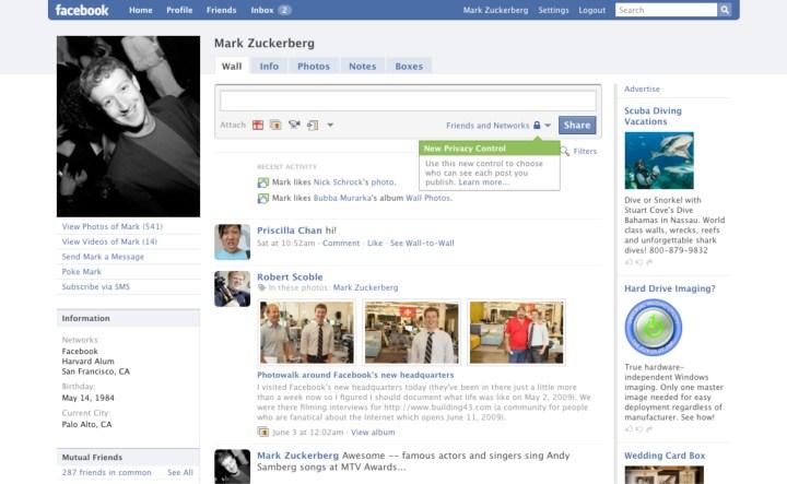 Facebook Profile Page, 2009.