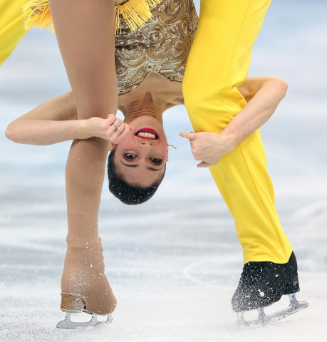 Stefania Berton, Italy, competes in the first Team Men Short Program/Team Pairs Short Program, a new competition during the Sochi Winter Olympics.