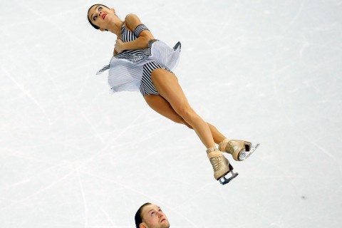 Russia's Vera Bazarova and Yuri Larionov during pairs short program at the Sochi 2014 Winter Olympics